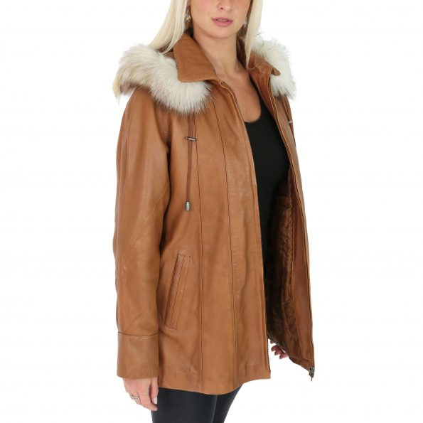 Womens Leather Coat with Hoodie Jane Tan
