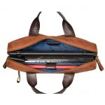 Mens Cross Body Leather Laptop Bag Malibu Tan