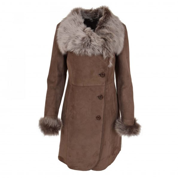 Womens 3/4 Length Shearling Coat with Toscana Trim Cece Brown