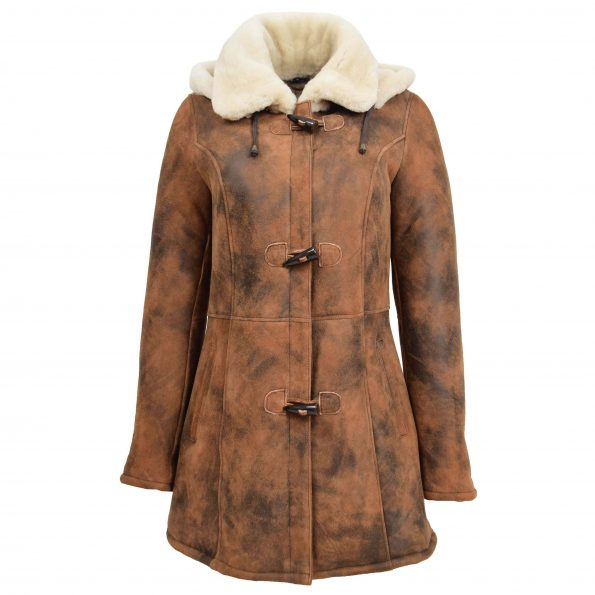 Womens Sheepskin Duffle Coat Mid Length Ellen Vintage Brown