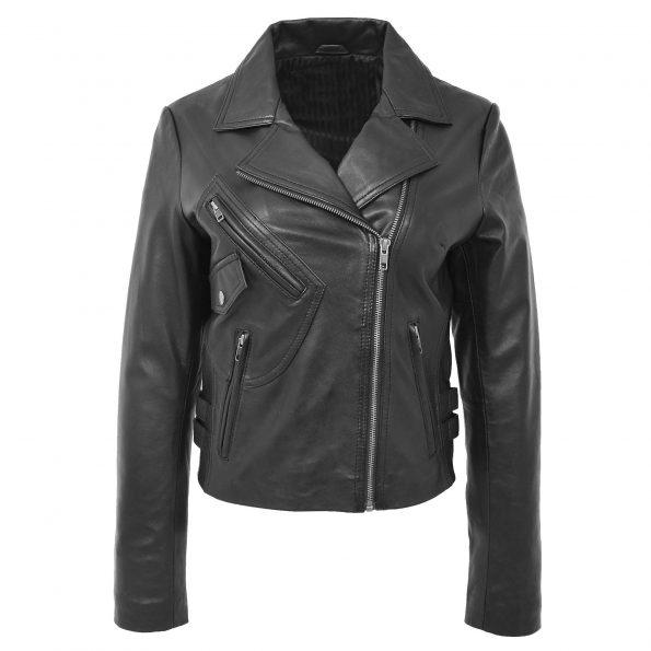 Womens Soft Leather Cross Zip Casual Jacket Jodie Black