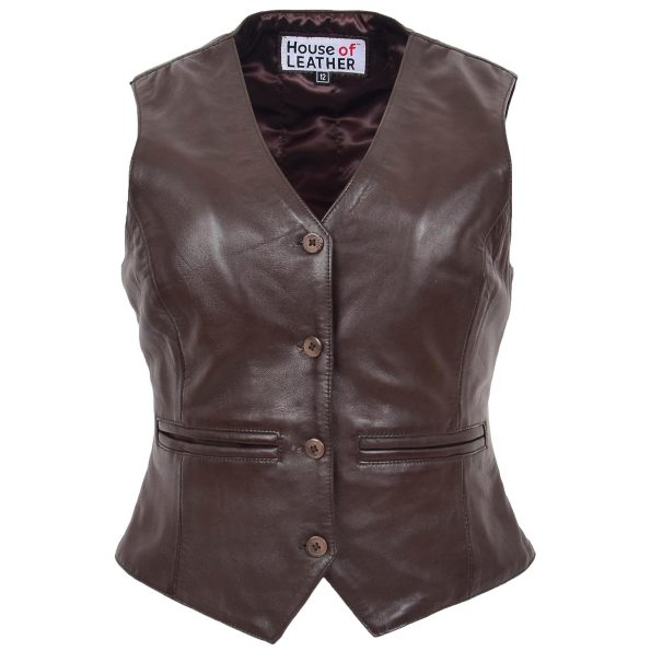 Womens Leather Classic Buttoned Waistcoat Rita Brown