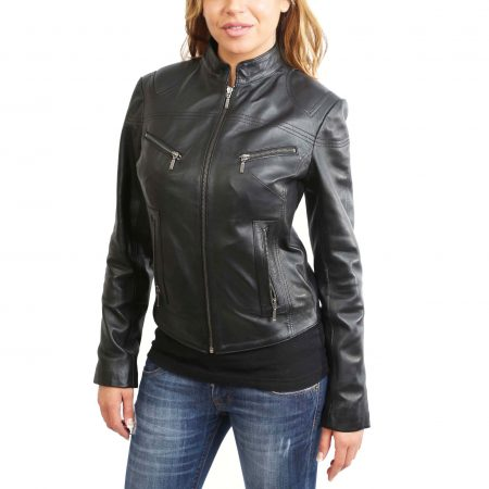 Womens Leather Standing Collar Jacket Becky Black