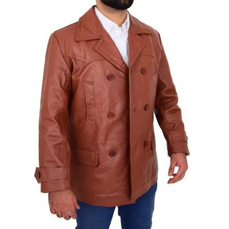 Mens Double Breasted Leather Peacoat Salcombe Tan