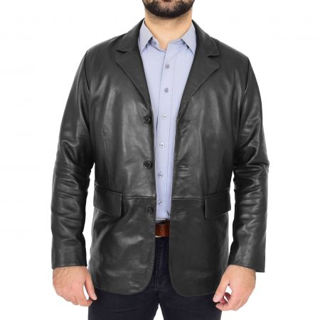 Mens Classic Three Button Soft Leather Blazer David Black