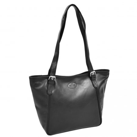 Womens Leather RFID Shoulder Hobo Bag Zoey Black
