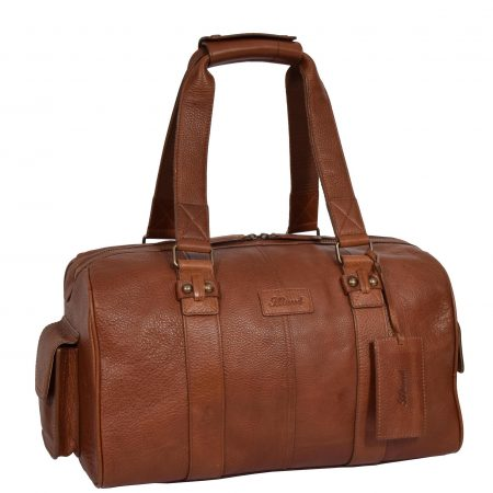Small Leather Sports Holdall Anaheim Tan