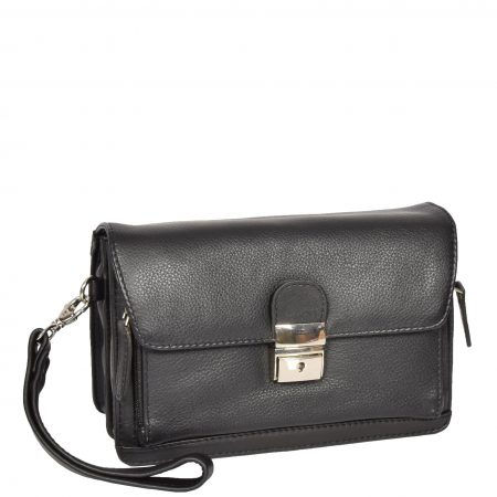 Lockable Leather Wrist Bag HOL584 Black