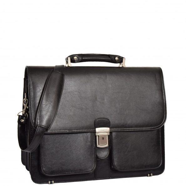 Leather Look Lockable Messenger Bag HL19 Black