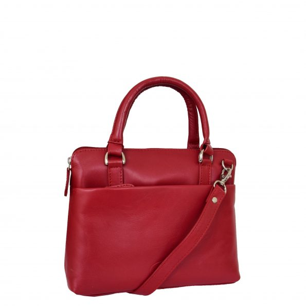 Womens Leather Small Tote Cross Body Bag Everly Red