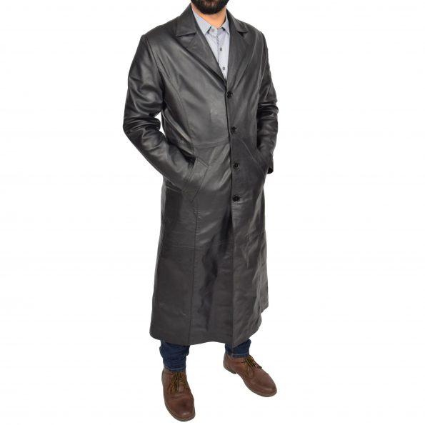 Mens Full Length Blazer Crombie Coat Freddie Black