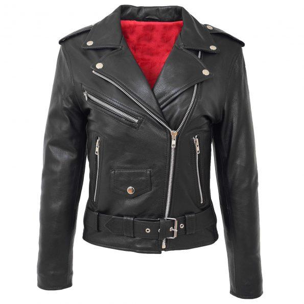 Womens Leather Biker Brando Style Jacket Holly Black