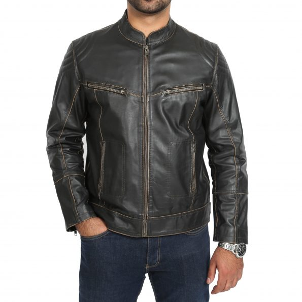 Mens Leather Vintage Biker Jacket Colin Dark Brown