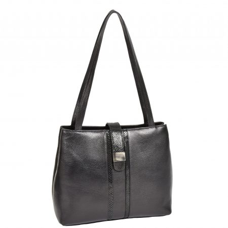 Womens Soft Leather Casual Shoulder Bag Meris Black