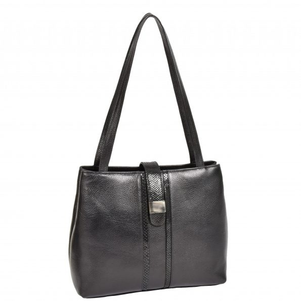 Womens Soft Leather Casual Shoulder Bag Meris Black
