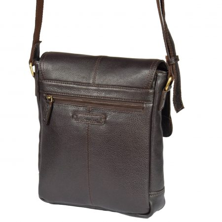 Mens Leather Cross Body Casual Bag HOL14 Brown