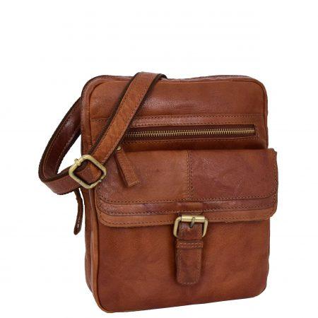 Mens Leather Cross Body Classic Flight Bag Ashton Tan