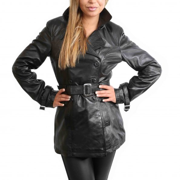 Womens Leather Double Breasted Trench Coat Sienna Black