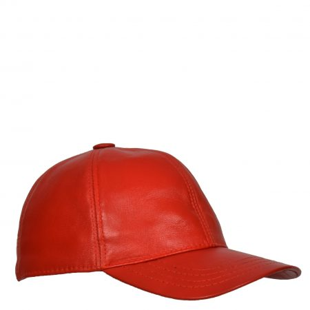 Classic Leather Baseball Cap Red