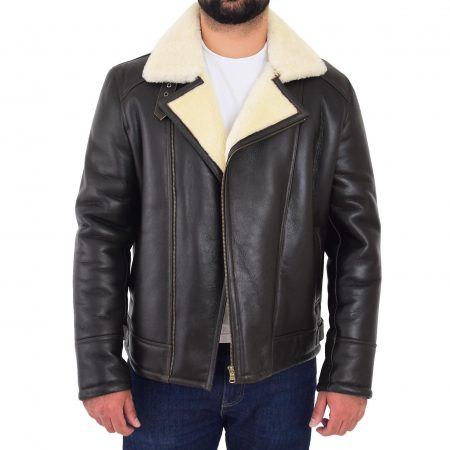 Mens Aviator Sheepskin Pilot Jacket Blen Brown White