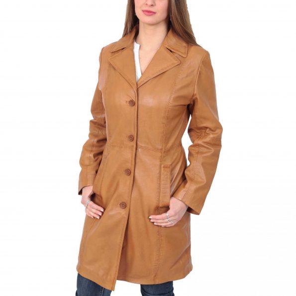 Women's 3/4 Length Soft Leather Coat