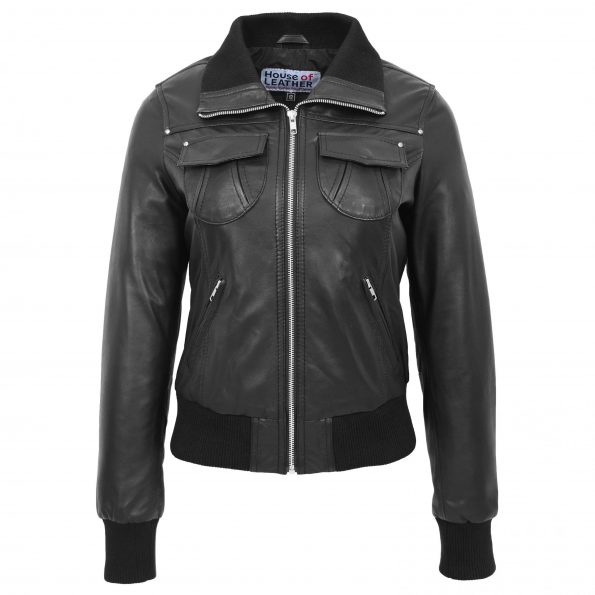 Womens Leather Classic Bomber Jacket Motto Black