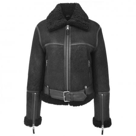 Womens Sheepskin Aviator RAF Pilot Jacket Elsie Black