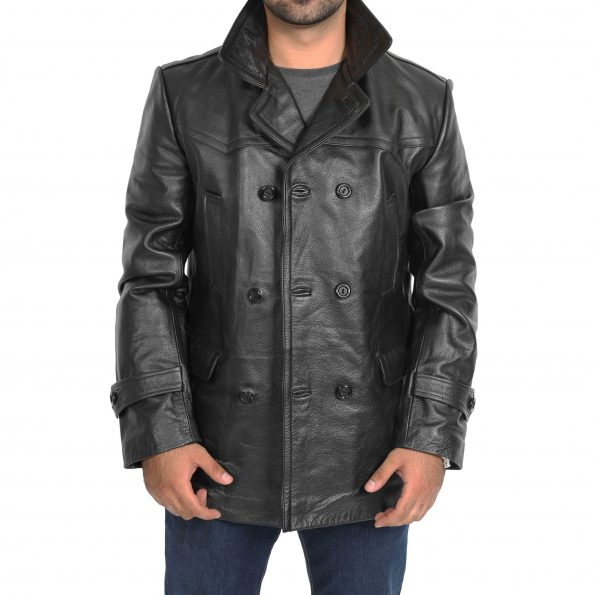 Men's Double Breasted Black Leather Peacoat