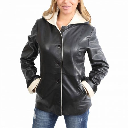 Womens Hooded Leather Button Jacket Carolina Black Beige