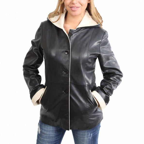 Womens Hooded Leather Button Jacket Carolina Black Beige