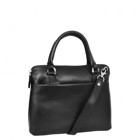 Womens Leather Small Tote Cross Body Bag Everly Black