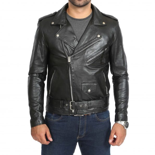 Mens Leather Biker Jacket Brando Style Johnny Black