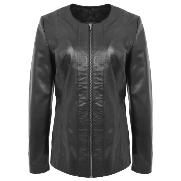Women's Classic Black Leather Collarless Jacket