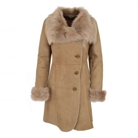 Womens 3/4 Length Shearling Coat with Toscana Trim Cece Beige