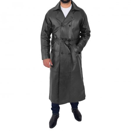 Mens Full Length Double Breasted Leather Coat Pete Black