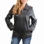 Womens Classic Zip Fastening Leather Jacket Julia Black