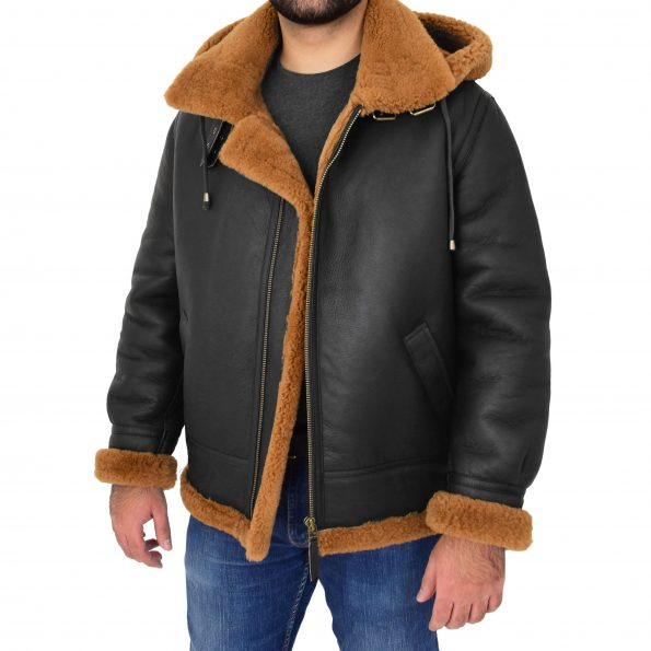 Men's B3 Sheepskin Jacket Detachable Hoodie Ruben Brown Ginger