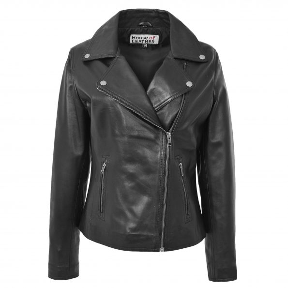 Womens Soft Leather Cross Zip Biker Jacket Lola Black