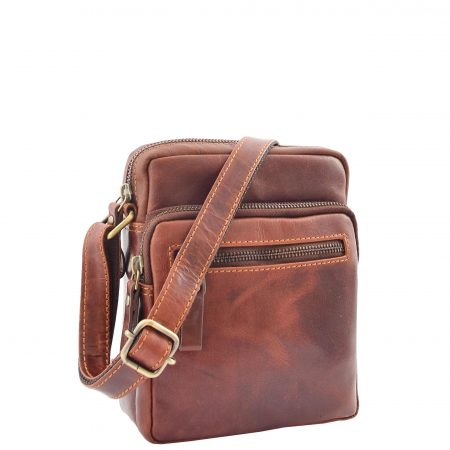 Mens Leather Cross Body Flight Bag Dolton Brown