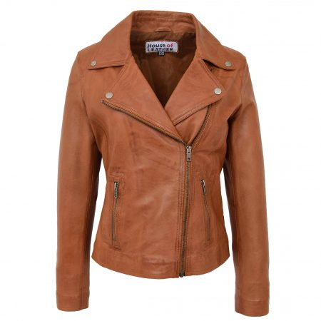 Womens Soft Leather Cross Zip Biker Jacket Lola Tan