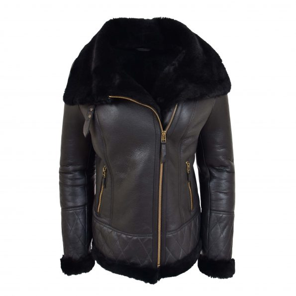 Womens Merino Sheepskin Aviator Jacket Isabelle Black