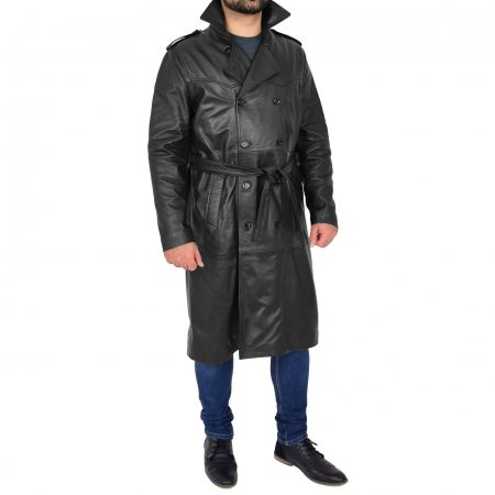 Men's Leather 3/4 Double Breasted Black Coat