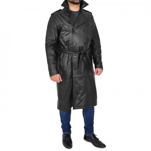 Mens Leather 3/4 Length Double Breasted Coat Travis Black