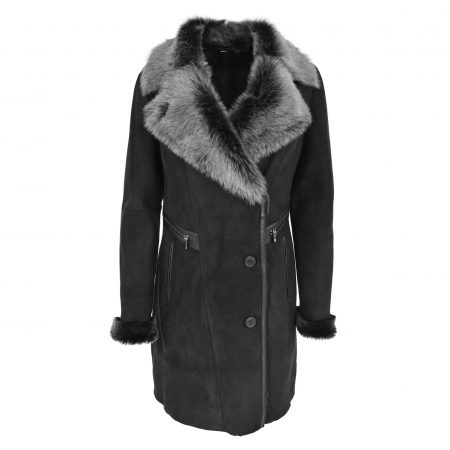 Womens 3/4 Length Sheepskin Coat with Toscana Trim Rea Black