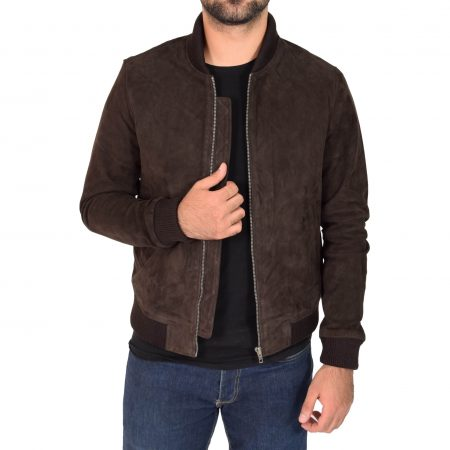 Mens Suede MA-1 Bomber Jacket Trevor Brown