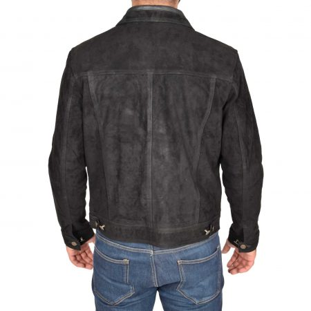 Mens Real Suede Trucker Harrington Jacket Daryl Black
