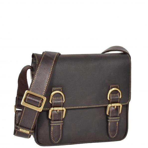 Satchel Style Leather Flight Bag HOL12 Brown