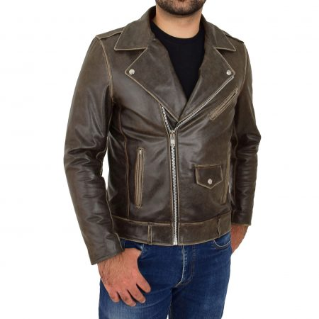Mens Leather Biker Brando Design Jacket Neil Brown