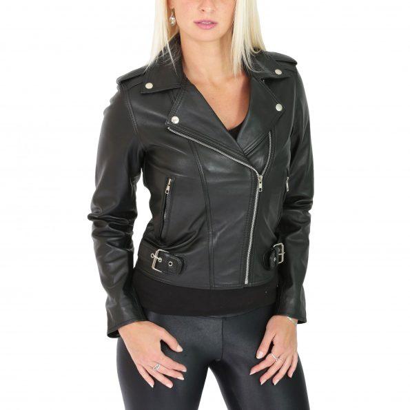 Womens Leather Biker Style Cross Zip Jacket Emma Black