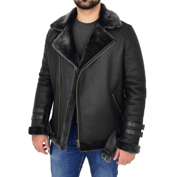 Mens Sheepskin Aviator Jacket Cross Zip Biker Style Alvin Black